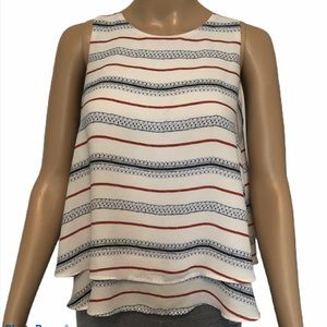 Loft striped sleeveless ruffle top size XS